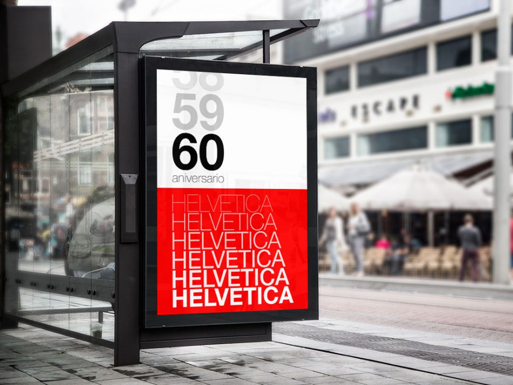 Poster marquesina bus helvetica