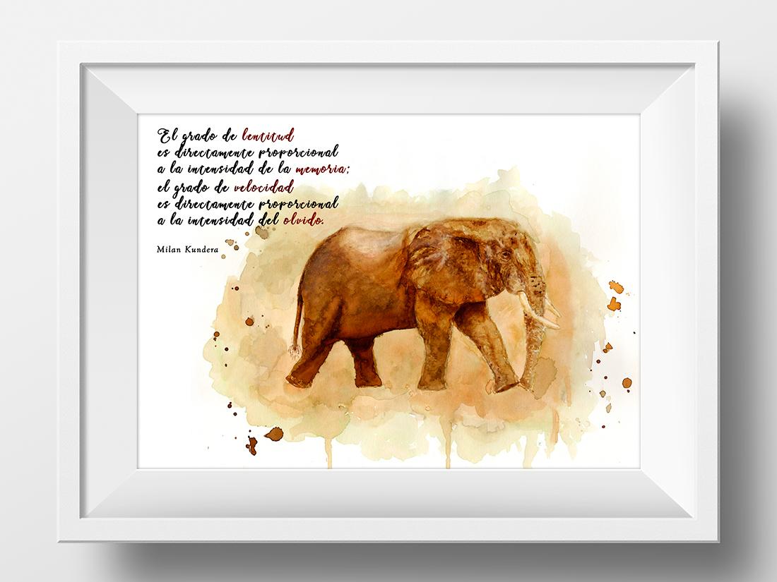 Acuarela de elefante con texto de Milan Kundera