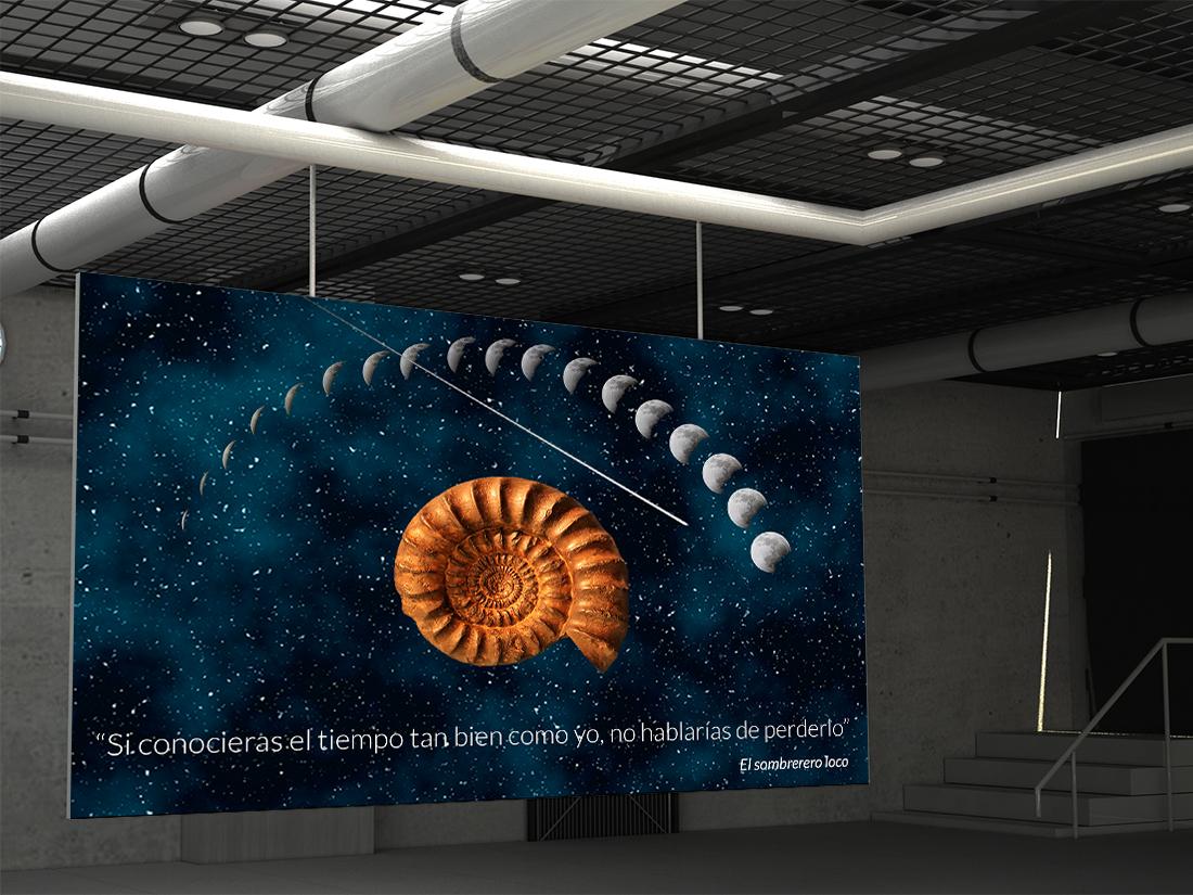 representación digital del tiempo en un cartel