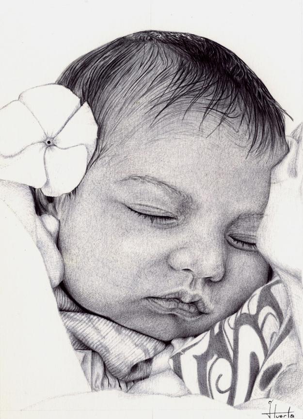 Dibujo a bolígrafo de un bebe